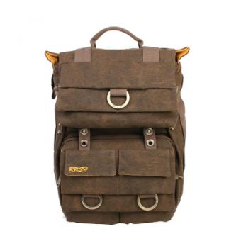 YBC Outdoor Canvas Camera Backpack Laptop Handbag Backpack Waterproof Coffee