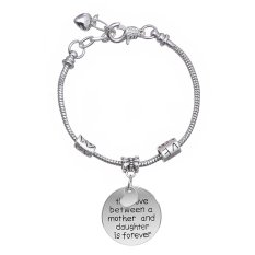 2016 Family New Year Gift Silver Love Heart Round Charm Pendant Bracelet Jewelry For Mother And Daughter 2016
