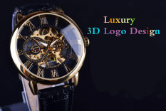 2016 Forsining 3d Logo Royal Design Black Gold Men Mechanical Watch Montre Homme Mens Watches Top Brand Luxury Leather Skeleton (Gold)