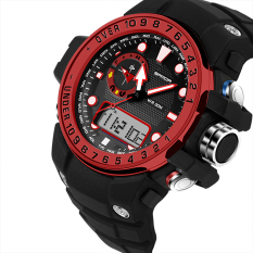 2016 High Quality SANDA 399 Fashion Outdoor Sports Dual Display Waterproof Electronic Watch (Red)