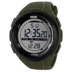2016 New Skmei Brand Men LED Digital Military Watch, 50M Dive Swim Dress Sports Watches Fashion Outdoor Wristwatches (Army Green)