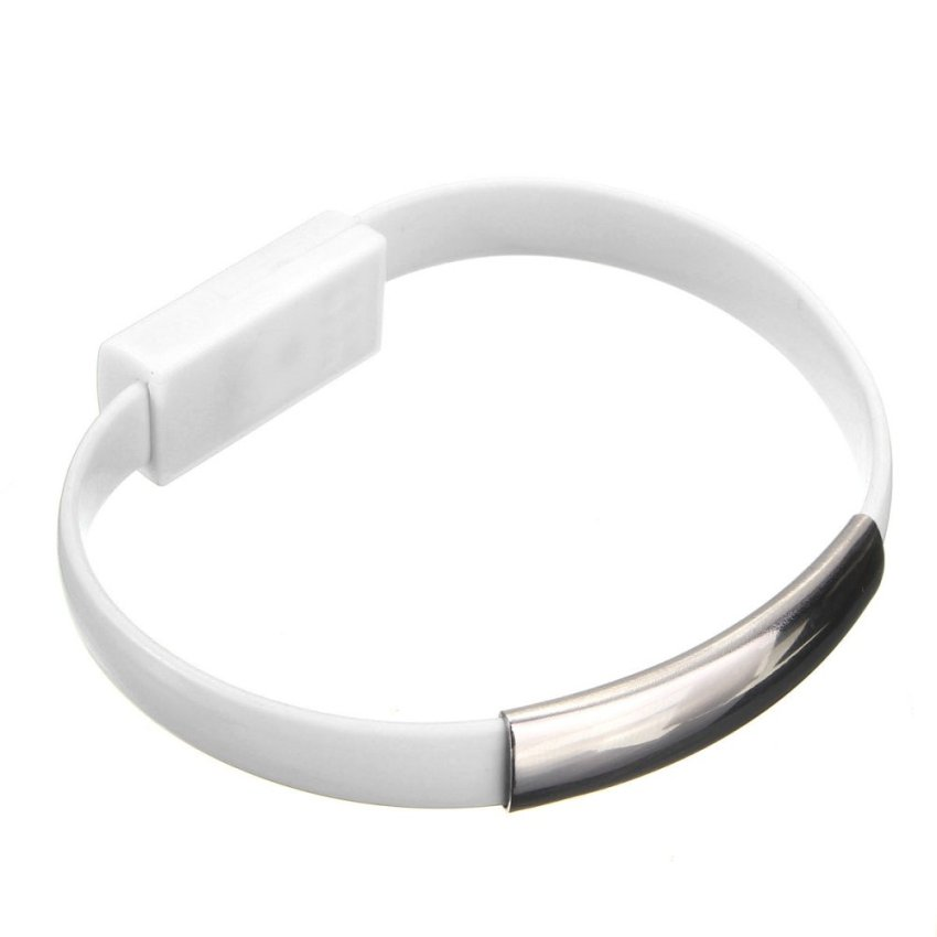 22cm Portable Bracelet USB Charging Cable for iPhone 5/6/6 Plus (White) (Intl)