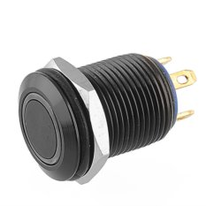 2A / 36V Blue LED Lighted Ring Illuminated Push Button (Black)