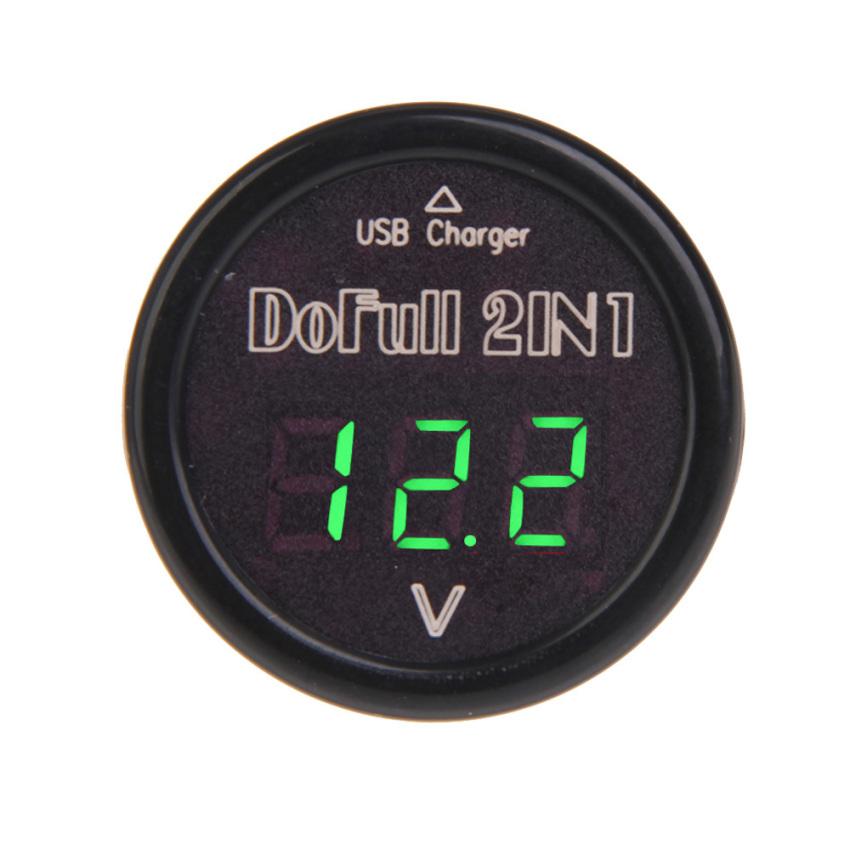 2IN1 USB Car Charger Voltmeter Monitor DF-01-PV Green Digital Display (Intl)