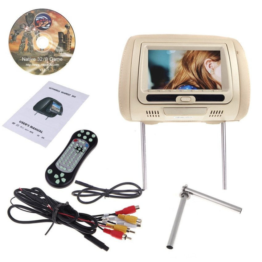 2pcs 7  HD 800*480 LCD Car Pillow Automobile Headrest Monitor DVD Player 8 Bits and 32 Bits Games (Intl)