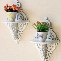 2x Floating Wall Shelf Home Decor Display Ledge for Photo Picture Flowerpot(INTL)