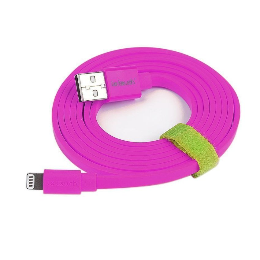 2x Letouch Apple MFi 1.5M Flat Lightning Sync Charge iPhone USB Cable (purple)