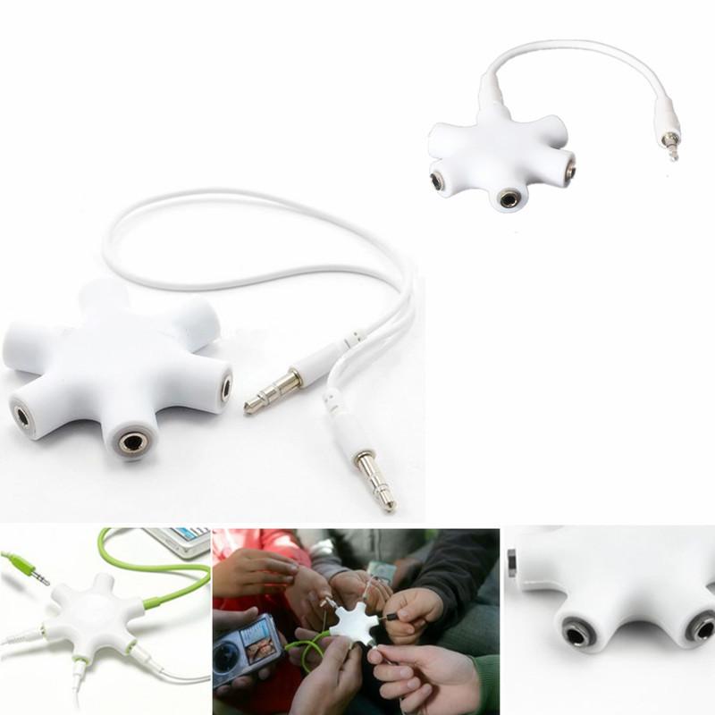3.5mm Earphone Headphone Audio Splitter 1 Male to 2 3 4 5 Female Port W/ 1 cable (Intl) (Intl)