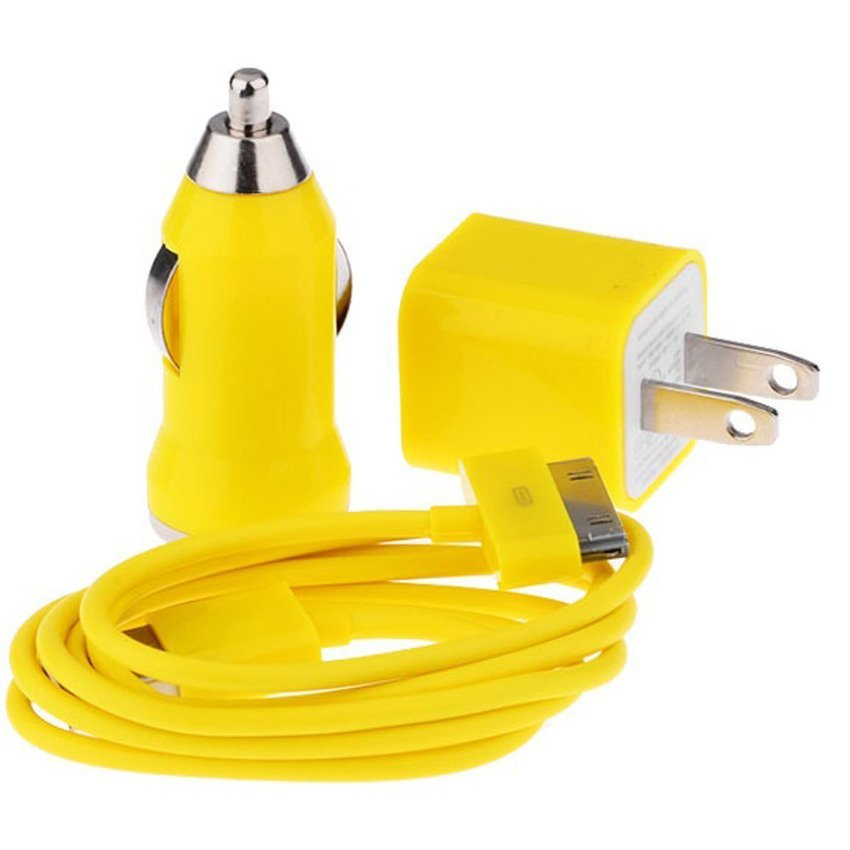 3 in 1 Car Charger (Yellow) (Intl)