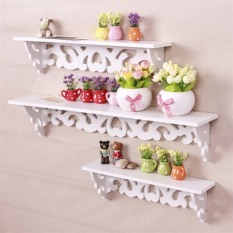 3 in 1 Set Vintage White Wood Wall Mounted Storage Shelf Rack Wall Rack