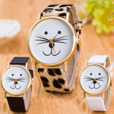 3 PACK Casual Novel Style Leopard Black And White Faux Leather Classic Round Watch