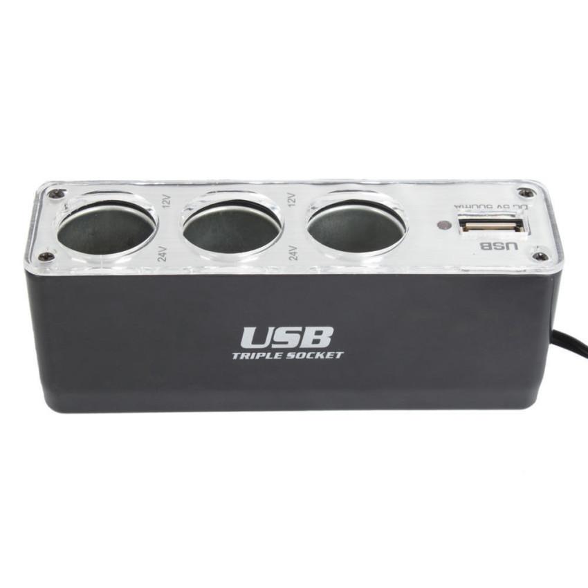 3 Way Car Cigarette Lighter Socket Splitter Charger Power Adapter DC+USB 12V-24V (Black) (Intl)