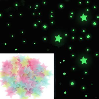 100 buah/pack bercahaya stiker dinding bintang, rumah bintangmenyala dalam gelap untuk kamar anak