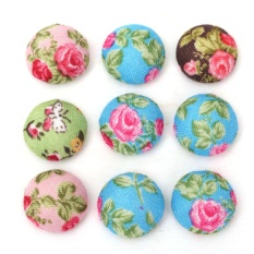 100pcs Flower Printing Fabric Cover Round Sewing Button Flatback DIY Hair Clip - intl