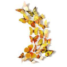 12 Buah 3D PVC Magnet Kupu-kupu Pasang Sendiri Stiker Dinding Dekorasi Rumah Kuning