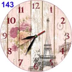 #143 Jam Dinding Retro Shabby Chic Bunga Mawar Menara Eiffel Paris