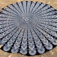150cm Bohemian Style Mandala Round Bed Towel Thin Chiffon Beach Yoga Sheet Tapestry Black Button - Intl