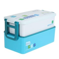2 Layer Bento Lunch Box For Kids Food Container Food Tableware 850ML (Blue) - Intl