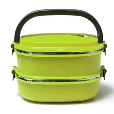 2 Layers Stainless Steel Lunch Box Picnic Storage Box Insulated Thermal