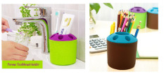 2 PCS Multi-purpose Porous Brush Pot Toothbrush Toothpaste Holder Bathroom Cabinet Organizer Plastic Storage Stand For Travel And Home (Round Coffee / Green) - Intl
