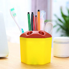 2 PCS Multi-purpose Porous Brush Pot Toothbrush Toothpaste Holder Bathroom Cabinet Organizer Plastic Storage Stand For Travel And Home (Yellow) - Intl