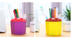2 PCS Multi-purpose Porous Brush Pot Toothbrush Toothpaste Holder Bathroom Cabinet Organizer Plastic Storage Stand For Travel And Home (Yellow / Purple) - Intl