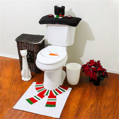 2016 Best Quality 3pcs Christmas Decorations Snowman Patterns Toilet Lid Cover And Rug Set (White)