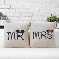 2PCs/1 Set MR MRS Couples Pillow Case Gift Linen Throw Pillow Covers Cute Lover Sofa Cushion Pillowcase Home Furniture D cor for Home Car Office - intl