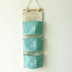 3 Pockets*1. Storage Tidy Over Door Wall Hanger Box Holder Hanging Organizer Bag.Single-Light Blue - Intl