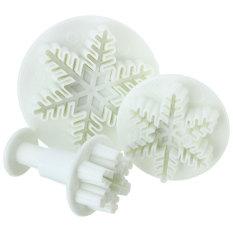 3 X Snowflake Plunger Cutter Mold Mould Sugarcraft Fondant Cake Christmas Decor
