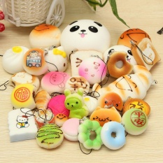 30Pcs Jumbo Medium Mini Random Squishy Soft Panda/Bread/Cake/Buns Phone Straps - intl