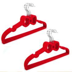 360DSC 10Pcs Bowknot Flocking Non-slip Coat Hangers Clothes Rack - Red - intl