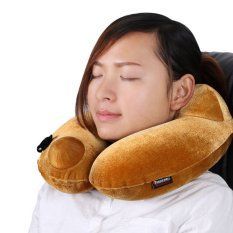 360DSC Autoinflation Automatic Inflatable Pillow 3D Neck Pillow Headrest Cushion Ergonomic Hump Design Camping Travel Home Office Plane Hotel TF408N - Golden (Intl)