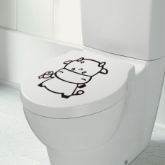 360DSC ZooYoo Coy Cow Sticker Removable Seat Lid Cover Toilet Closestool Waterproof Decal 20x25cm