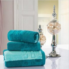 3pcs / Set Cotton Bath Towel Sets For Adults Kids Solid Beach Towel Home Textile Bathroom Gifts Hotel Supply (Green) 33x76cm And 70x140cm - Intl