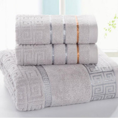3pcs / Set Luxurious Cotton Bath Towel Sets For Adults KidsSolid Beach Towel Thickening Adult Bath Towels Bathrobe (Grey) 34x70cm And 70x140cm - Intl