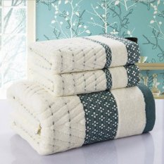 3pcs / Set Luxurious Rhombus Bath Towel Sets For Adults Kids Solid Beach Towel Cotton Adult Bath Towels Bathrobe (Green) 33x75cm And 70x140cm - Intl
