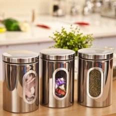 3pcs Stainless Steel Window Canister Tea Coffee Sugar Jar Storage Silver (Intl)
