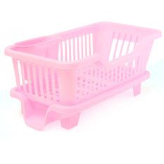 4-Color Kitchen Dish Drainer Drying Rack Washing Holder Basket Organizer Tray Pink (Intl)