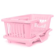 4-Color Kitchen Dish Sink Drainer Drying Rack Wash Holder Basketorganizer Tray Pink - Intl
