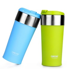 400ml Thermos Cup Stainless Steel Thermos Mug Coffee Cup Thermo Mug Insulated Thermo Mugs Auto Car Heating Thermal Cups (Green) (Intl)