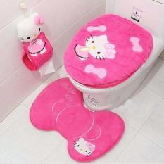 4PCS Lovely Bathroom Set Toilet Seat Cover + Closestool Lid Cover + Bath Mat + Paper Holde (Hot Pink) (Intl)