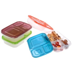 4pcs / Set New Design 3-compartment Bento Lunch Box Food Containers KC25248