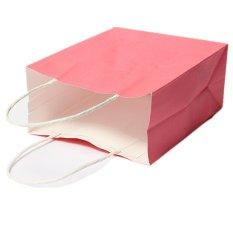 5 Buah Kraft Kertas Dapat Didaur Ulang Tas Hadiah Uang Pegangan Tas Berwarna Merah Muda
