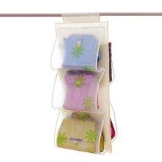 5 Pocket Transparent Dust Proof Wardrobe Hanging Storage Bag Purse Handbag Tote Bag Storage Organizer Closet Rack Hangers U0766-LEAF