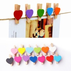 50 Pcs Wooden Mini Sweet Love Heart Shape Clips for Photo Card Paper Pegs - intl