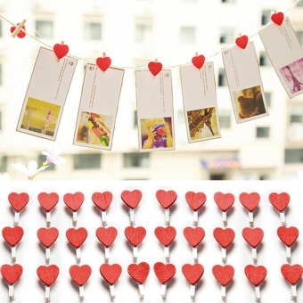 50Pcs/Pack Mini Love Heart Wooden Clips For Photo Paper ClothespinCraft - intl