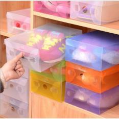 6 Buah Kotak Sepatu Transparan Anti Dust / Anti Jamur - Multicolour