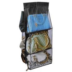 6 rak tas gantung kantong saku tas tangan penyelenggara rak kabinet penyimpanan gantungan (Hitam)