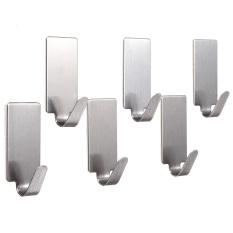 6X Self Adhesive Home Kitchen Wall Door Stainless Steel Stick Holder Hook Hanger (Intl)